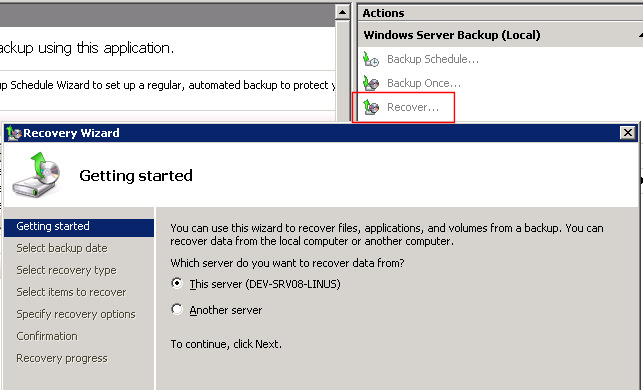 Restoring files and folders with Windows Server Backup