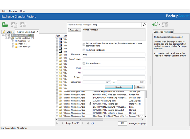 Exchange Granular Restore can be used to browse or search for the specific Exchange mail items that you want to restore