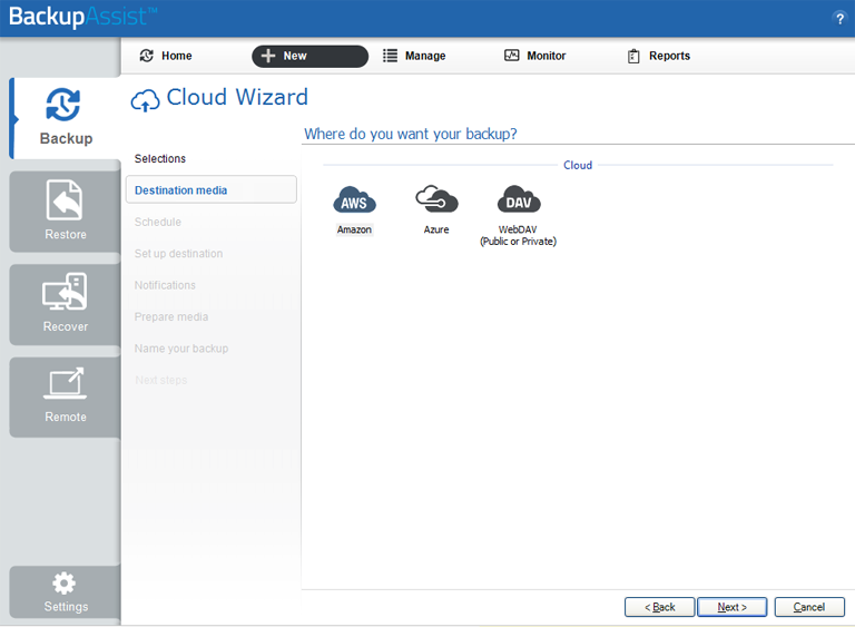 BackupAssist's server to the cloud backup allows you to choose Amazon, Azure or WebDAV as your cloud destination