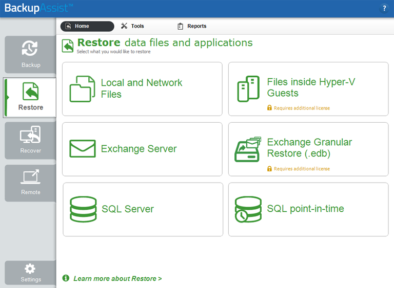 The Restore tab makes it easy to perform restores from backups made using BackupAssist's SQL Server backup software and Hyper-V backup software. It can also be used to perform both an Exchange granular restore and a Hyper-V granular restore.