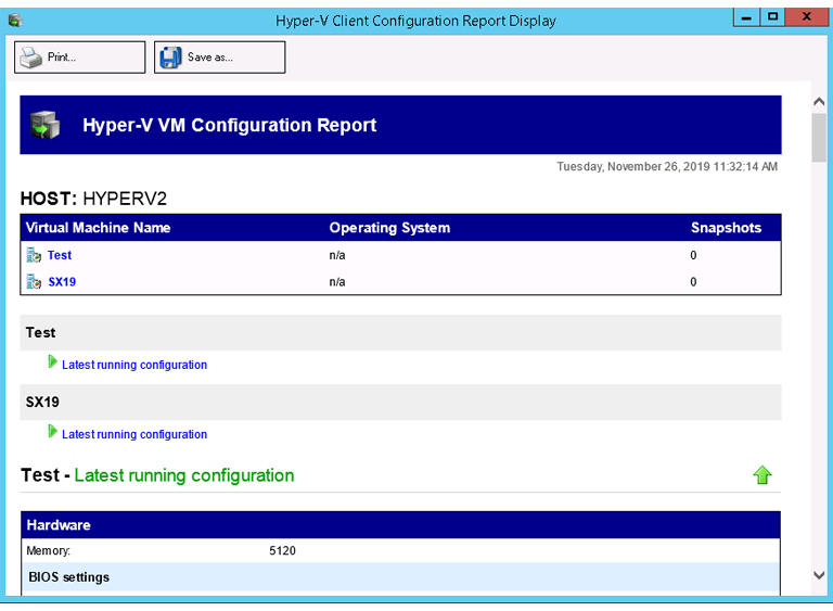BackupAssist includes Hyper-V backup software that allows you to generate a report with each VMs configuration information.