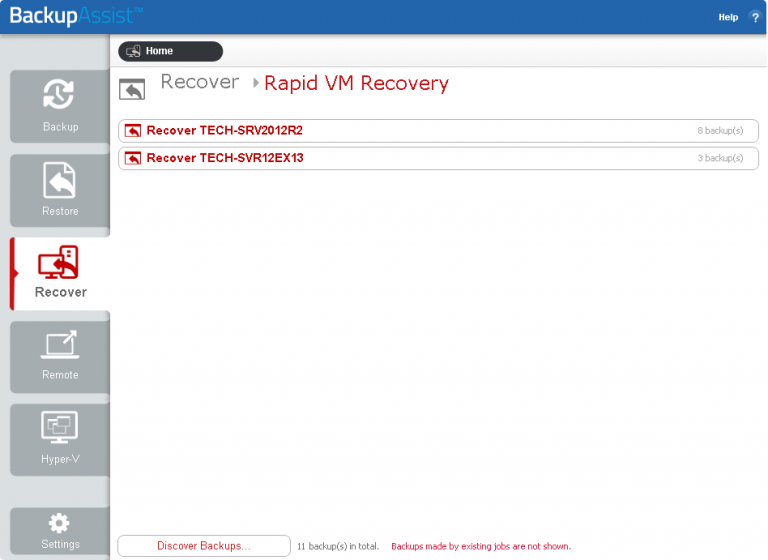 BackupAssist's Hyper-V backup software can list all backup jobs that are used to protect VMs on its Recover tab, making it easy to select the VM backup you need