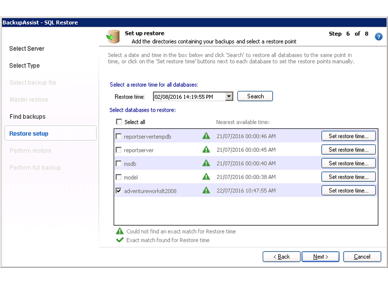 BackupAssist's SQL Server backup software allows you to select a restore point so SQL databases can be recovered to a specific point in time