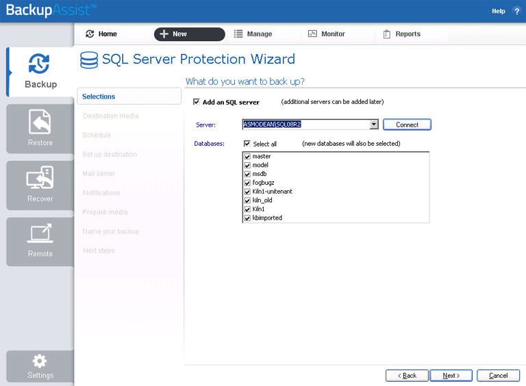 BackupAssist's SQL Server backup software allows you to select what databases you want to back up on a local or remote SQL server