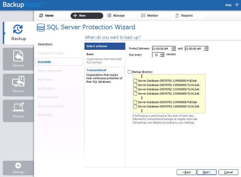 BackupAssist's SQL Server backup software allows you to schedule transactional backups of all databases on an SQL Server