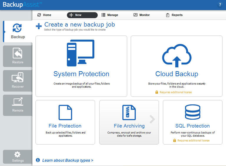 The Backup tab provides easy access to all backup solutions including BackupAssist's tape backup software, SQL Server backup software and server to cloud backup options
