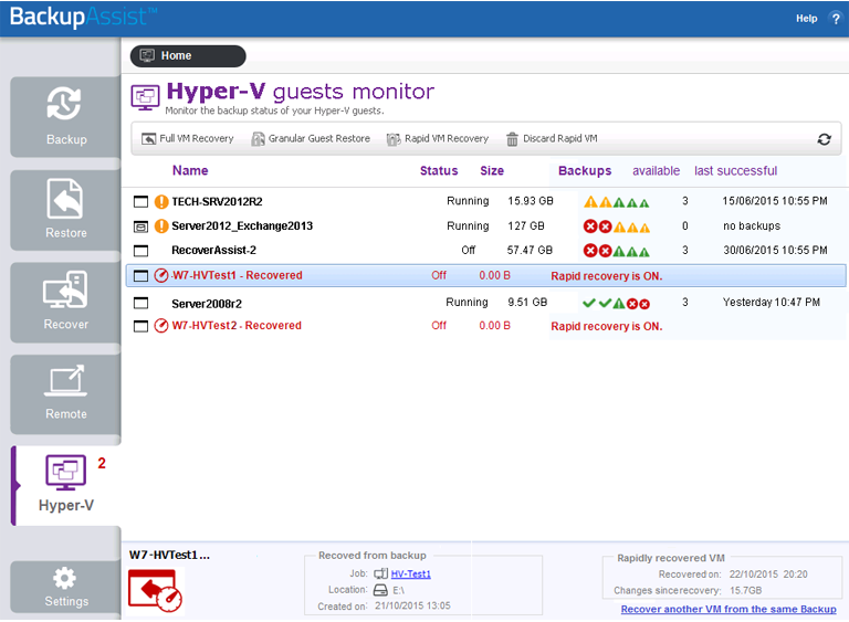 BackupAssist Classic Hyper-V backup software includes a dedicated screen to manage each Windows Server backup job