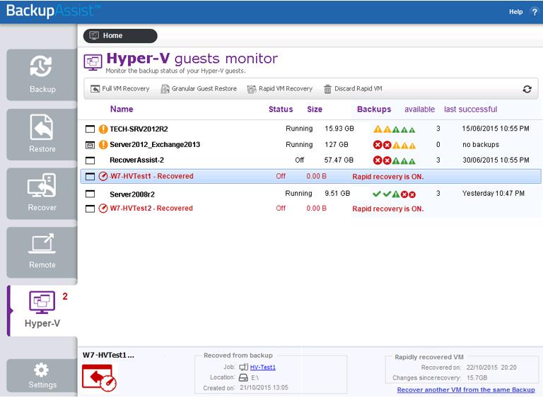 BackupAssist Classic Hyper-V backup software includes a dedicated screen to manage each Windows Server backup job