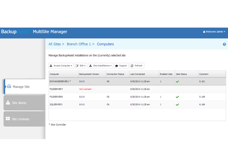 Use MultiSite Manager to remotely manage your BackupAssist installations