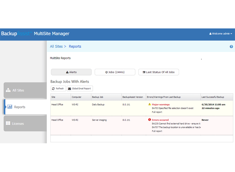 MultiSite Manager provides detailed reporting on each remotely managed BackupAssist installation