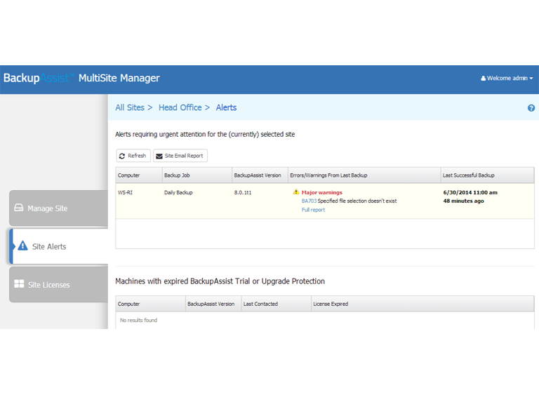 MultiSite Manager sends alerts for all major warnings on your remotely managed BackupAssist installations