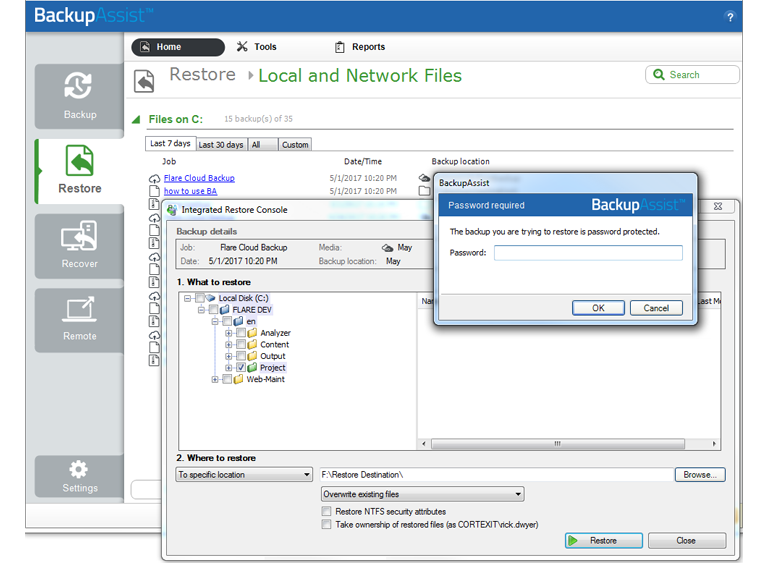 Perform a data restore from a Windows Server cloud backup, including an encrypted cloud backup.