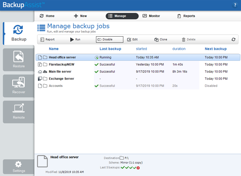 The BackupAssist Classic Manage screen allows you to manage Windows Server backup jobs for both physical and virtual servers