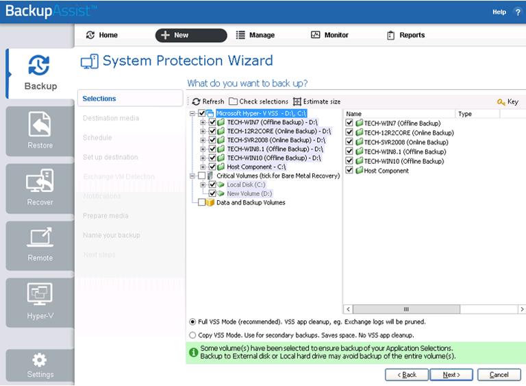 BackupAssist Classic Hyper-V backup software creates application-consistent windows server backups