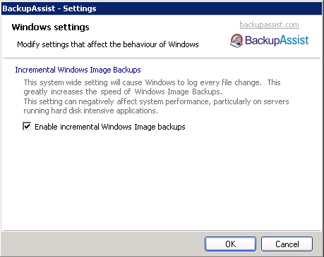 Enabling incremental backups in Backup Assist