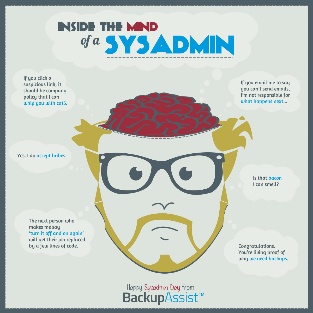 what goes on in a sysadmin's mind - sysadmin day infographic 2015