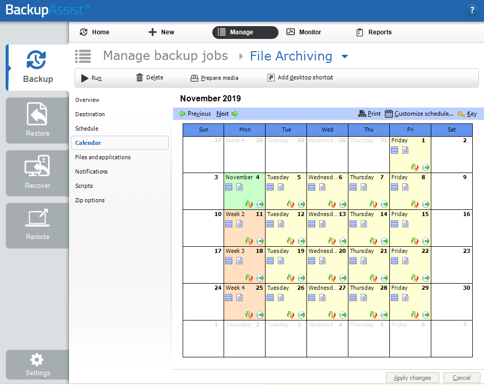 File Archiving Calendar screen