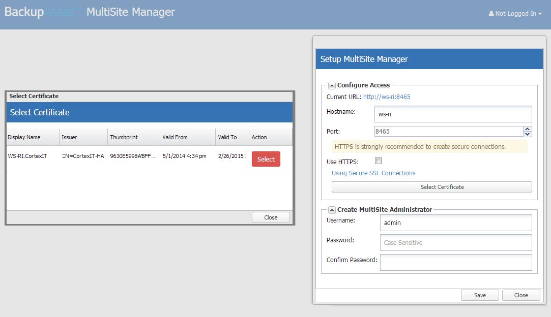 Multisite Manager Ssl Certificates Backupassist