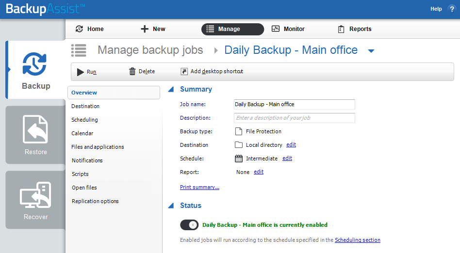managing your backup job with backupassist