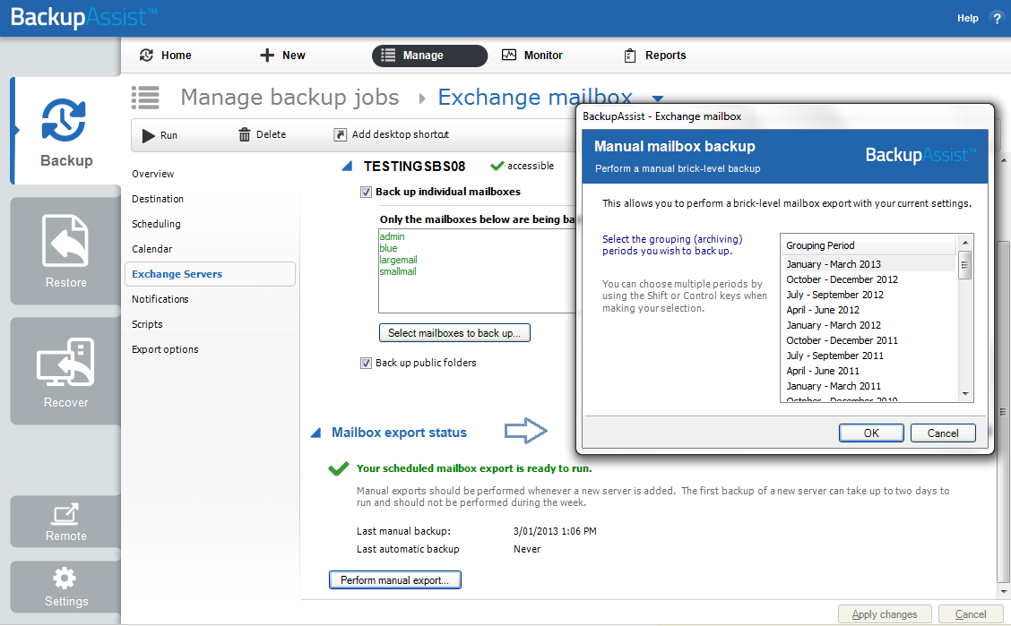 Exchange Mailbox Protection | BackupAssist