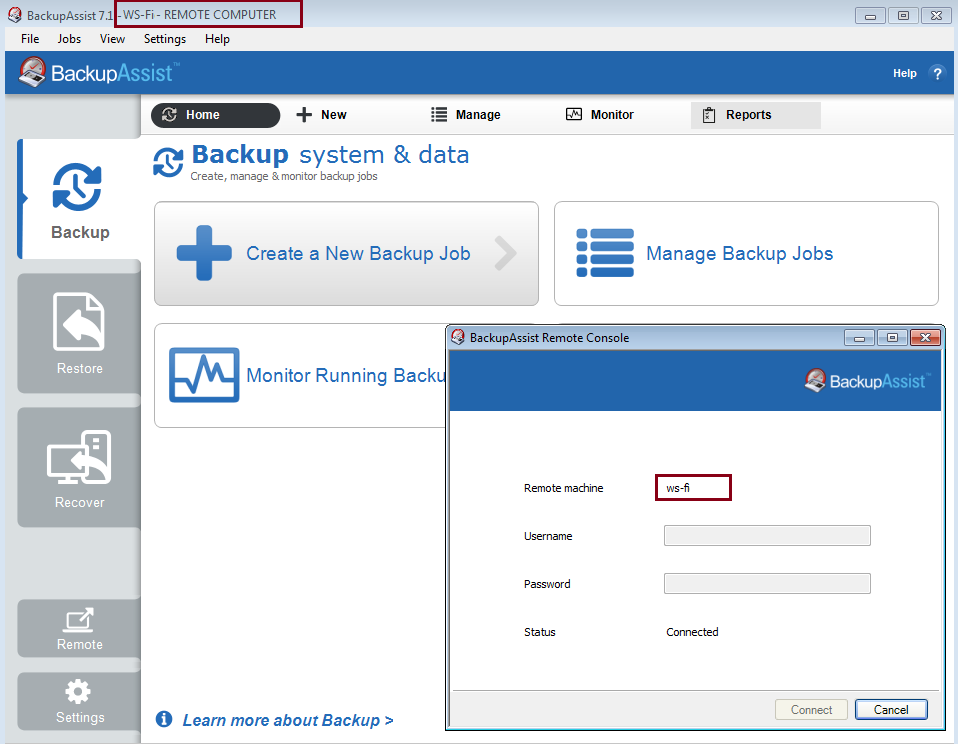 Central administration backupassist - Remote desktop console mode ...
