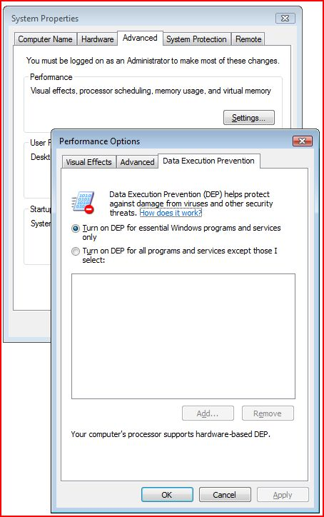 Data Execution Prevention settings
