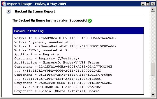Windows Server Backup Backed Up Items