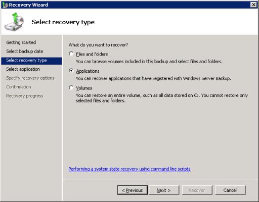 Windows Server Backup Restore VSS Application