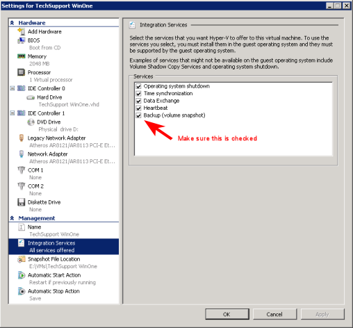 VSS Hyper-V backup integration service