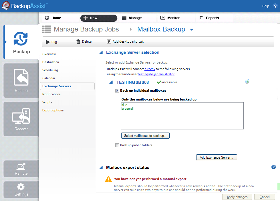 Exchange mailbox group backups with BackupAssist
