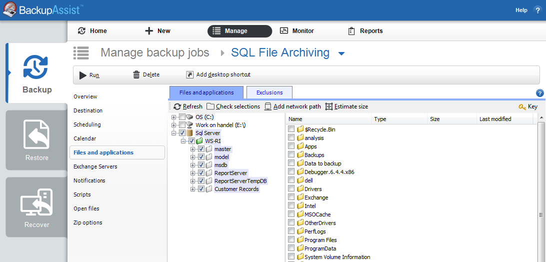 VSS application backup and restore with BackupAssist