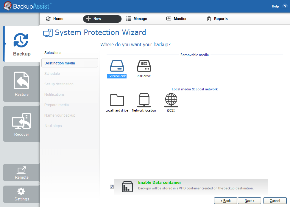 how to turn protection on backup drive
