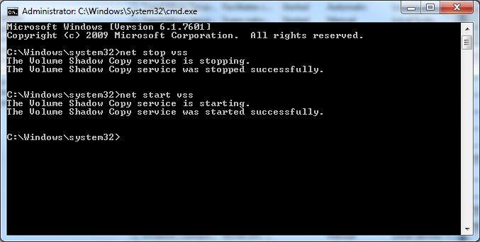 BA958 Volume Shadow Copy Error 0x80042404 - The backup